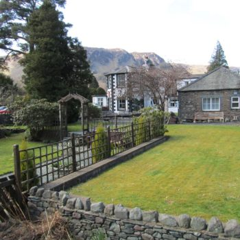 Scafell Hotel garden wtih fells in background